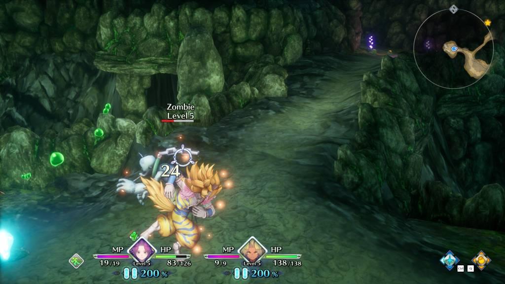 Na szczęście walka wTrials of Mana jest nawet przyjemna, chociaż kamera robi, co może, żebyniebyła