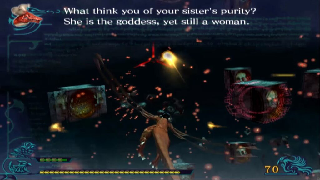 Na obrazku: Angelus prowokuje Caima zapomocą uczuć jego siostry